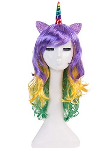 6b8be22a7310 Qirui One-horned Wig Pony Polly Colorful Hair Headgear Cosplay