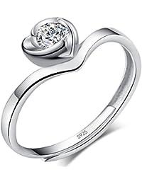 Infinite U De Moda Plata de ley 925circonita cúbica ajustable boda/compromiso anillos para Parejas/amantes