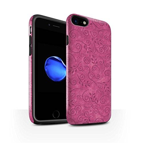 STUFF4 Glanz Harten Stoßfest Hülle / Case für Apple iPhone 8 / Gelb Muster / Blatt-Strudel-Muster Kollektion Rosa