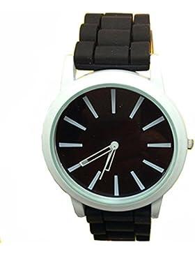 GSPStyle Damen Armbanduhr Silikon Quarz Uhren Analog Kinderuhren Damenuhr Farbe Schwarz
