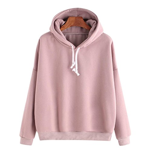 Hoodie Pullover Damen Btruely Herbst Winter Hooded Sweatshirt Mode Mädchen Pullover (L, Rosa) (Cropped Hooded Sweater)