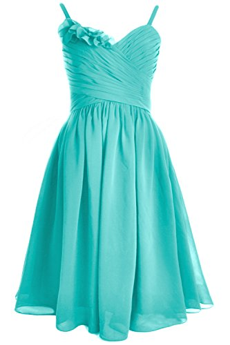 MACloth Spaghetti Straps Short Bridesmaid Dress Wedding Party Formal Gown Turquoise