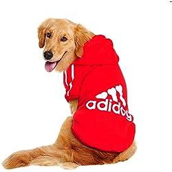 Lovelegis Costume Sweat - T-Shirt - Rouge - Capuche - Adidog - Chien et Chat - Idée Cadeau pour Noël et Anniversaire