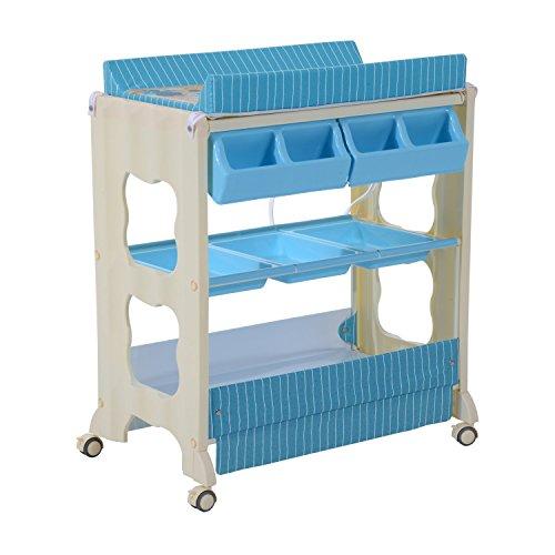 Homcom® Baby Wickeltisch Wickelkommode mit Badewanne Wickelauflage Mobil (Blau)