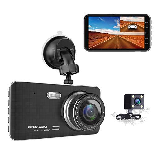 """Apexcam Autokamera Dash CAM 4.0 """"IPS 1080p FHD Doppelobjektiv-Laufwerksrekorder 170 ° Weitwinkel-G-Sensor WDR-Schleifenaufnahme DVR-Parkmonitor Nachtsicht"""