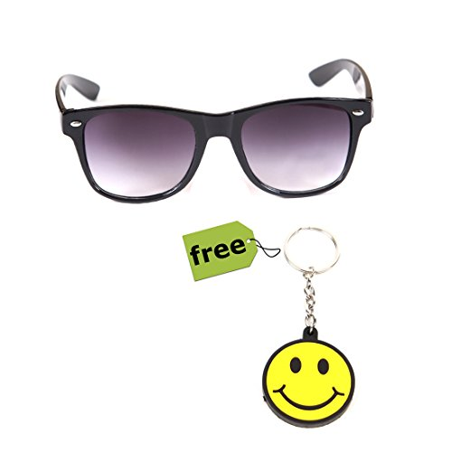 Elligator Trendy Black Wayfarer Sunglass With Stylish Smiley Key Chain Combo (Set Of 2)  available at amazon for Rs.179