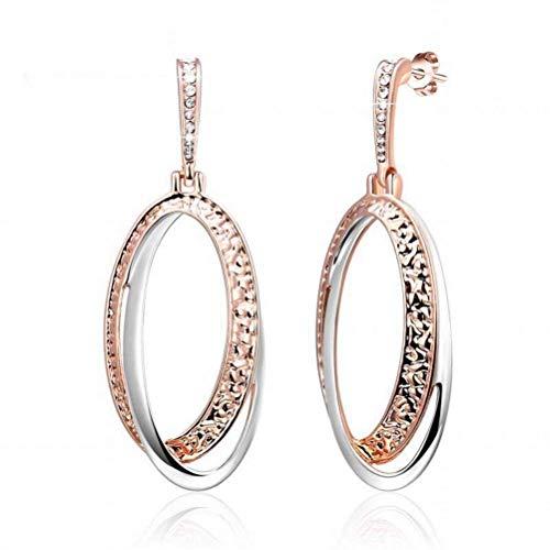 E-H Ohrring Dangler Eardrop Bolzenohrring Ohrringe Fashion Two-Tone Thread Ohrringe Ohrring Plattform für Frauen, Roségold, Roségold (Two Tone Ohrringe)