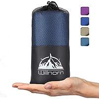 WILLNORN 2in1 Hüttenschlafsack aus Mikrofaser, mit durchgängigem Reißverschluss: Leichter Komfort Reiseschlafsack und XL Reisedecke in Einem