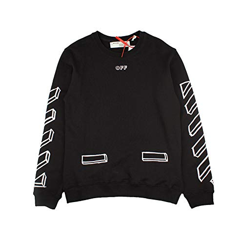 Off Sketch Round Neck Sweater Black and White Stereo Long Sleeve Sweater Men Women Casual Winter Boys Girls -