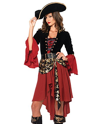 Kidsform Damen Halloween Karneval Cosplay Piratenkostüm Mit Hut Kleid Dress Oberteil Rot One Size