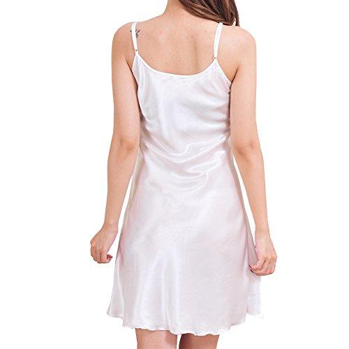 iBaste Nachthemd Sleepwear Satin Lingerie Einfarbig Unterkleid Unifarben S-XXXL Weiß