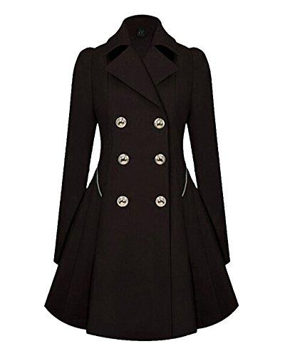Saideng donna cappotto soprabito lungo slim fit doppio petto trench nero 3xl