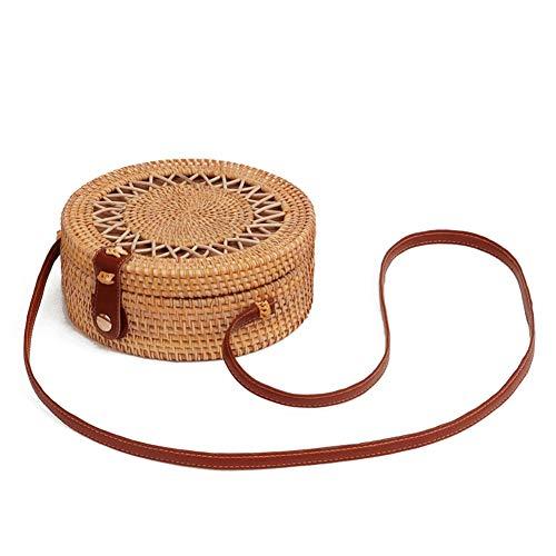 Miyanuby Damen Umhängetasche Rattan Handgemachte Vintage Tasche Handtaschen für Frauen Travel Strandtasche Sommer Umhängetasche