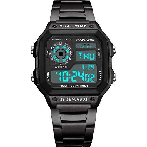 A-Artist Herren Jungen Digital Uhren Männer LED Klassisch Dual Zeitanzeige Militär Uhr Wecker Kalender Sport Stoppuhr Tactical Watch Wasserdichte Armbanduhr für Herren