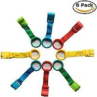 Celyc Anillas para Cunas y Parques,8pcs,Multicolor,Con tira de textile de alta calidad,Cómodo y Suave