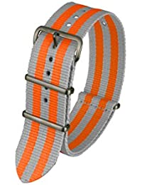 Davis - BNN3BGREY/ORANGE-24 - Bracelet de Montre Mixte - Nylon Gris