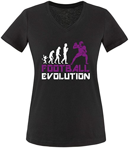 EZYshirt® Football Evolution Damen V-Neck T-Shirt Schwarz/Weiss/Violett