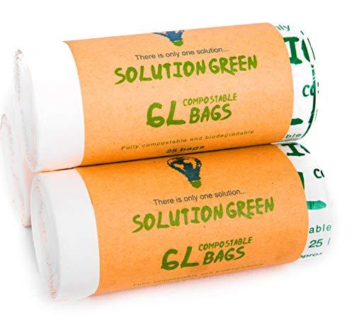 Solution Green 5/6 litres Sacs Poubelle Biodégradables avec et sans poignées | Compostables pour Les Déchets Alimentaires | pour Vos Bac Bio & Compost ou Déchets Généraux | 100% Non Plastique