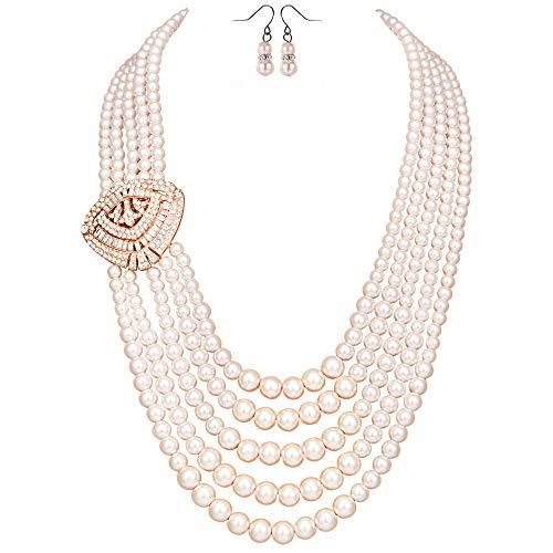 ArtiDeco 1920er Jahre Gatsby Multi-Schichten Imitation Perlen Kette Retro Damen Halskette mit Kristall Blume Brosche und Perlen Ohrringe (Rose Gold-Stil 1)