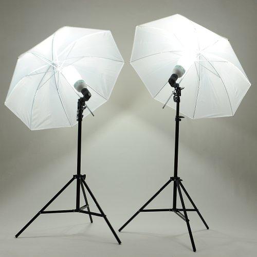 Mvpower Kit Illuminazione Di Luce Continua Per Studio Fotografico Con 2 x Softbox Ombrello, 2 x Stativi 2M, 2 x Lampadina 135W A Risparmio Energetico