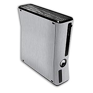 atFoliX Skin kompatibel mit Microsoft Xbox 360 Slim, Designfolie Sticker (FX-Brushed-Alu), Gebürstet / Bürsten-Struktur