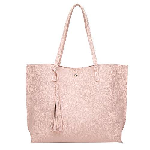 PB-SOAR Damen Mädchen Fashion Shopper Schultertasche Schulterbeutel Henkeltasche Handtasche Einkaufstasche aus Kunstleder 36x30x11cm (B x H x T) (Golden) Hell Rosa