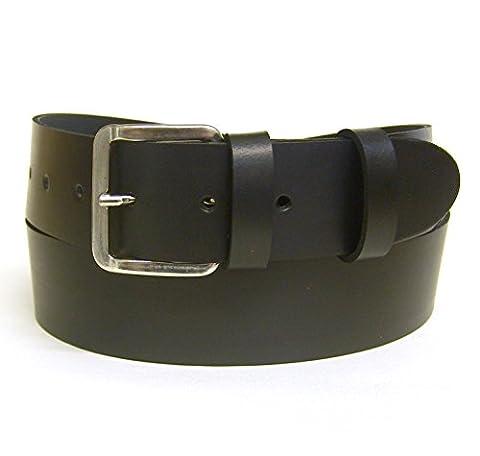Women's Black Leather Belt - 38mm Wide - Silver Buckle - 100% Real Leather - Handmade in UK. (28