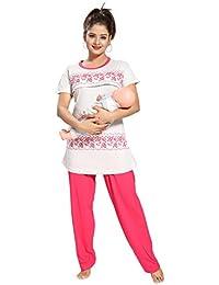 Fabme Women's Maternity Nightshirt (NW0136DPK-3XL_Dark Pink_XXX-Large)