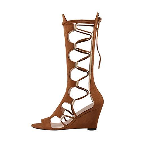 Onlymaker Gladiator Sandalen Stiefel Sandaletten mit Keilabsatz und Reißverschluss für Frühling Sommer Party Kleid Kostüm Braun 37 (Römische Party Kostüm)