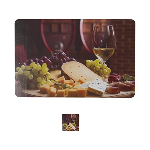 Dream Care Set Of 6 Fruits And Glass Printed Table Mats And...