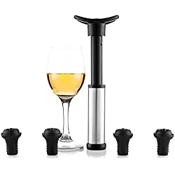Bomba De Vacío Para Vino | Accesorios Vino | Vacía El Aire De Tu Botella De Vino Y Consérvalo Como Recién Abierto | Incluye 4 Tapones | Apto Lavavajillas Y Reutilizable | De Blumtal
