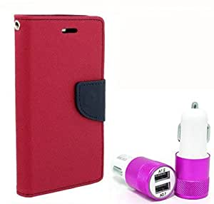 Aart Fancy Diary Card Wallet Flip Case Back Cover For Lenovo A6000 - (Pink) + Dual ports USB car Charger With Ultra Power Technolgy by Aart Store.