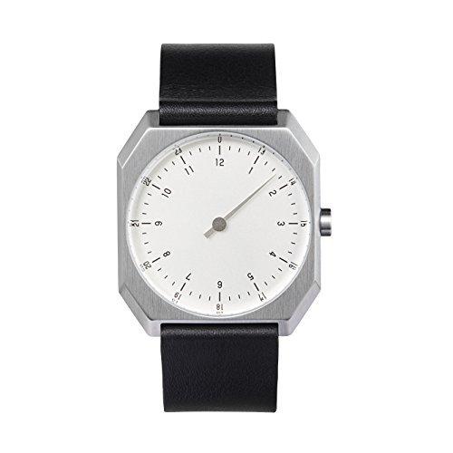 slow AM/PM Edition 01 - Schweizer Unisex Einzeigerarmbanduhr analoge 24 Stundenanzeige Leder Silber/schwarz