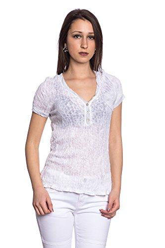 Abbino 8432 Shirts Tops Damen - Made in Italy - 6 Farben - Übergang Frühling Sommer Herbst Damenshirts Damentops DamenT-shirts Lässig Langarm Sexy Freizeit Elegant Baumwolle Fashion - One size Weiß