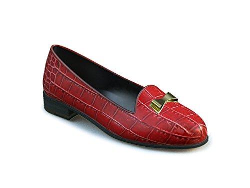 DIS - Lucrezia - Mocassino - Donna, Stampa Coccodrillo Rossa Fiocco Oro Stampa Coccodrillo Rossa Fiocco Oro
