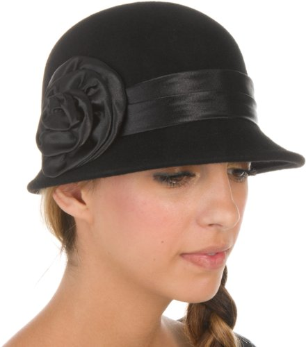 EH2941LC - Sakkas Womens Vintage Style 100% Wolle Cloche Eimer Bell Winter Hut mit Satin Blume Akzent - Schwarz / One Size (Bell Hut Eimer)
