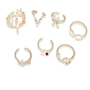 Habors Gold Victoria Multi Finger Midi Seven Rings Set
