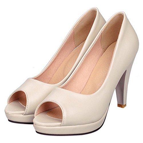 COOLCEPT Femmes Mode Slip On Sandales Peep Toe Conique Chaussures Abricot