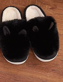 &zhou Automne féminin et oreilles de lapin mignon hiver coton pantoufles chaudes croûte épaisse avec un demi-paquet de pantoufles maison 3940-BLACK