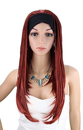 Kalyss Frauen lange Wein rote Braid Perücke mit Band afrikanischen Afro Stil geflochtene Stirnband Perücken