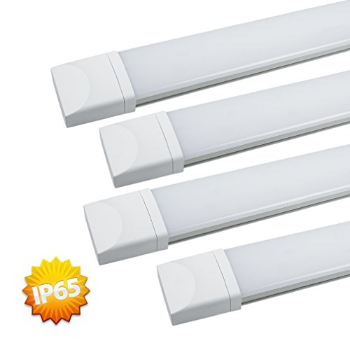 4er J&C® IP65 18W 4000-4500K Natural Weiß LED Lamp Innenbeleuchtung Nassraumleuchte Leuchstoffröhre 1400LM Bürobeleuchtung Wasserdicht Wannenleuchte Feuchtraumleuchte Staubdicht Korrosion