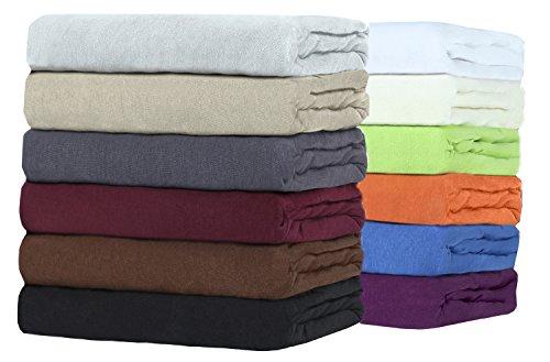 Sonderangebot!! TOPPER Jersey Spannbettlaken Boxspringbett Spannbetttuch zum Sparpreis, viele Farben und Größen hochwertige MARKENWARE (180x200 - 200x200 cm, sand / beige)