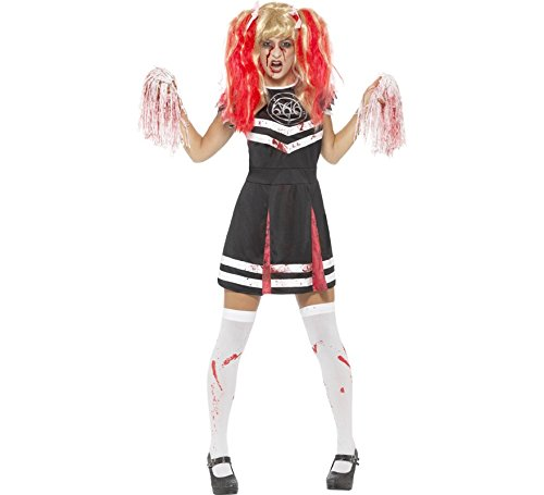 Kostüm Pom Poms Cheerleader - Smiffys Damen Satans Cheerleader Kostüm, Kleid und Pom Poms, Größe: 32-34, 45121
