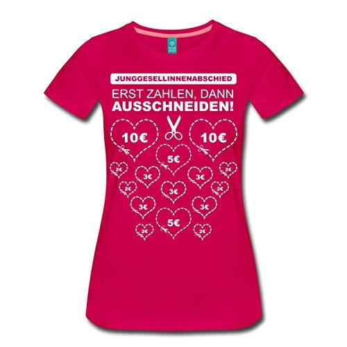 Spreadshirt Junggesellinnenabschied Herzen Ausschneiden Spiel Frauen Premium T-Shirt, S (36), Dunkles Pink
