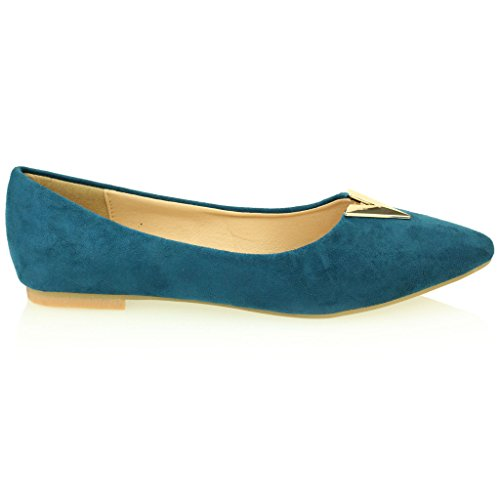 Femmes Dames Soir Casual Confort Ballerinas Plat Pompes Escarpins Sandale Chaussures Taille (Noir, Taupe, Bleu Royal) Bleu Royal