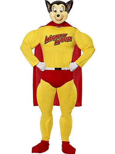 Mighty Mouse Fancy Dress Costume. This cartoon superhero first appeared in the 1940s, but an 80s revival with a whole new series of cartoons ensured that the character lived on. Relive your youth in this official outfit.