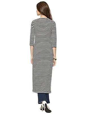 Raabta Fashion Women'S Viscose Cardigan (Strip Long Cardigan_Black::White_Medium)