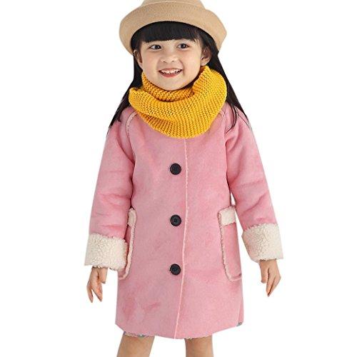 VENMO Baby Kinder Pullover Warme Winteroberteile Lässige Jacke Kleidung Kleinkind Berber Fleece kleine Windbreaker Outwear Kleid Mäntel Kapuzenjacke für Kaninchen mit Gefüttert Jacket warm (130, Pink) (Berber-kleidung)