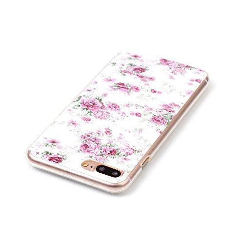 Coque Housse pour iPhone 7 Plus/8 Plus, iPhone 8 Plus Coque Silicone Etui Housse, iPhone 7 Plus Souple Coque Etui en Silicone, iPhone 7 Plus Silicone Transparent Case TPU Cover, Ukayfe Etui de Protect rose chinoise