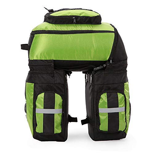 Bike Rack Bag Wasserdichte Tasche 65L Large Capacity Riding Drei-in-Einem Abnehmbare reißfeste Verschleißfeste Mountain Bike Rear Seat Gepäcktasche Reitausrüstung, Um Regen Abdeckung zu senden (Grün) -